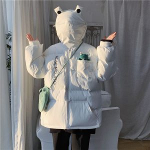 Frog Eyes Zipper Hooded Cotton Coat