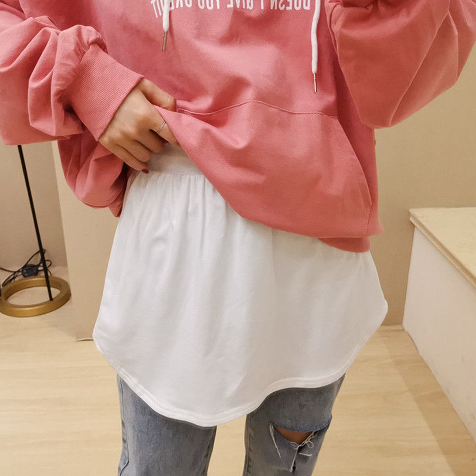 Half-Length Splitting a Version Versatile Fake Hem for Sweater Sweatshirt and Other Casual Clothes Adjustable Layering Fake Top Lower Sweep Coat Jacket