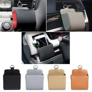 IKSNAIL Car Storage Bag Air Vent Dashboard Tidy Hanging Leather Organizer Box Glasses Phone Holder Storage 4