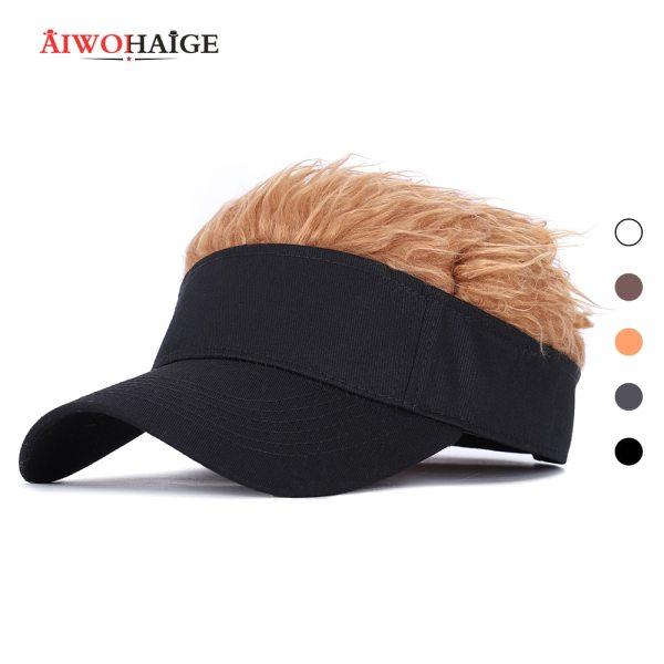 Men Women Casual Concise Sunshade Adjustable Sun Visor Baseball Cap With Spiked Hairs Wig Baseball Hat