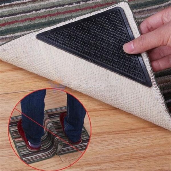 4Pcs Non slip Carpet Mat Clip Silicone Grippers Floor Mat Sticker Reusable Self adhesive Washable Anti