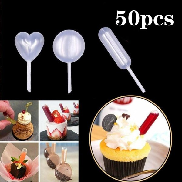 50pcs 4ml Sauce Droppers For Cupcakes Ice Cream Sauce Ketchup Pastries Macaron Stuffed Dispenser Mini Squeeze