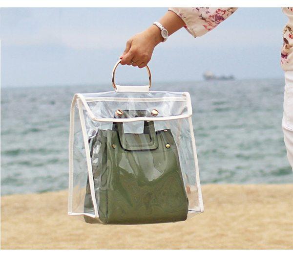 Fashion Clear Dust Proof Bag Case Organizer Woman Transparent Handbag Protector Holder Hengreda for Travel Beach