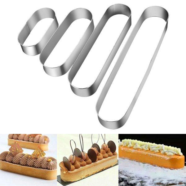 1PC 4 Sizes Stainless Steel Long Oval Cake Mousse Ring Mini Metal Tiramisu Mold Baking Ring