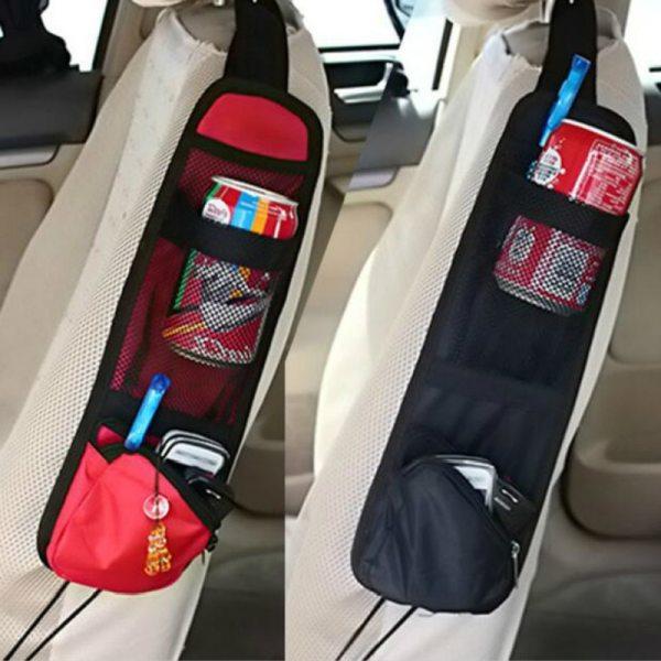 Car Seat Storage Bag Seat Side Hanging Bag Mesh Organizer for Small Items Useful Car Interior