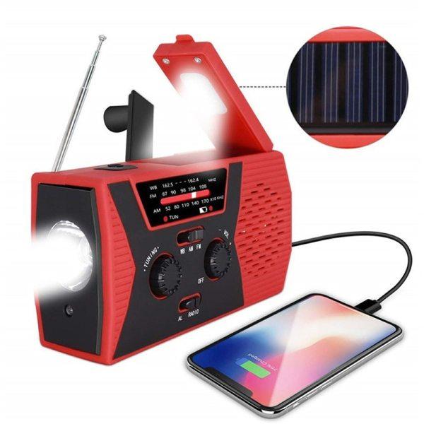 Emergency Solar Hand Crank Portable Radio AM FM NOAA Weather Alert Radio with LED Flashlight Reading
