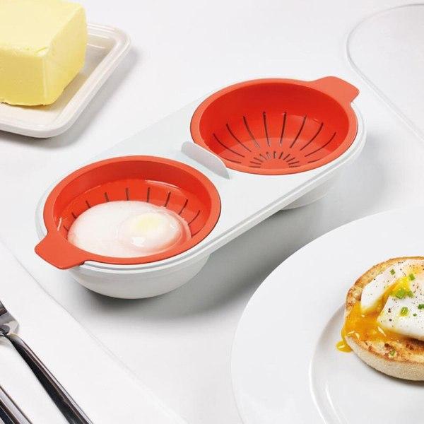 New Creative Egg Poacher Food Grade Cookware Double Cup Egg Boiler Steamed Egg Set Microwave Ovens