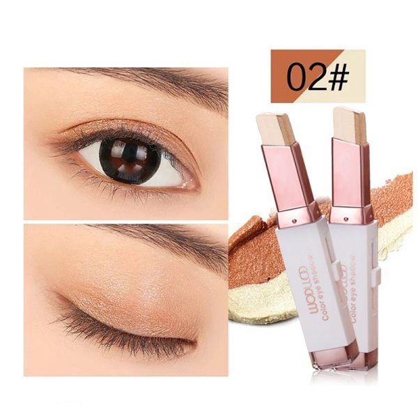 Professional Double Color Gradient Velvet Eye Makeup Shadow Stick Waterproof Shimmer Metallic Eyeshadow Makeup
