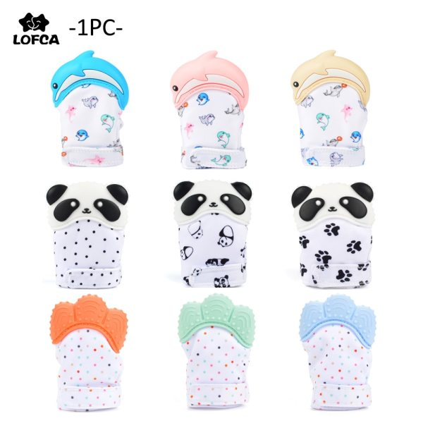 Silicone Teether 1pc Animal Dolphin Baby Teething Glove Panda Wrapper Sound Teething Chewable beads Newborn Toddler