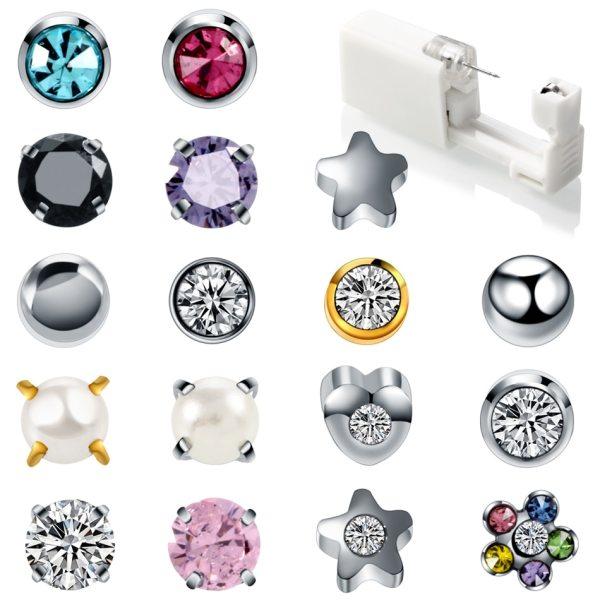 1PC Disposable Sterile Ear Piercing Unit Cartilage Tragus Helix Piercing Gun Tool Kit Build In Steel