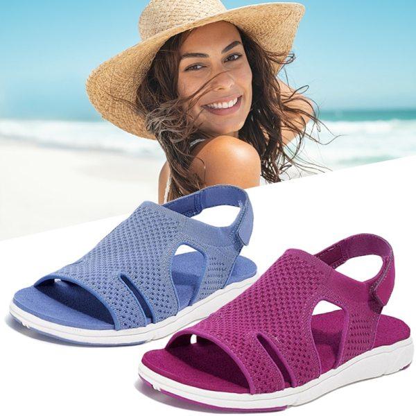 2021 New Women s Soft Comfortable Sandals Mesh Upper Breathable Sandals Adjustable Cross strap Design