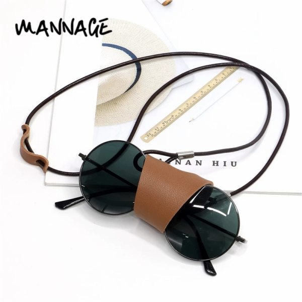 Classic Casual Leather Sunglasses Chain Reading Glasses Hanging Neck Button Case Eyeglasses Largands Strap