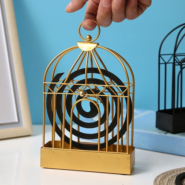 Creative Mosquito Coil Holder Nordic Style Birdcage Shape Summer Day Iron Mosquito Repellent Incenses Rack Plate