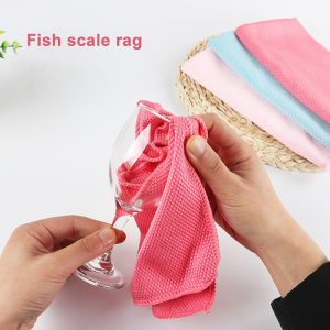 Fish Scale Microfiber Polishing Cleaning Cloth 5pcs Soft Microfiber Cleaning Towel Absorbable Glass Kitchen In Stock 1