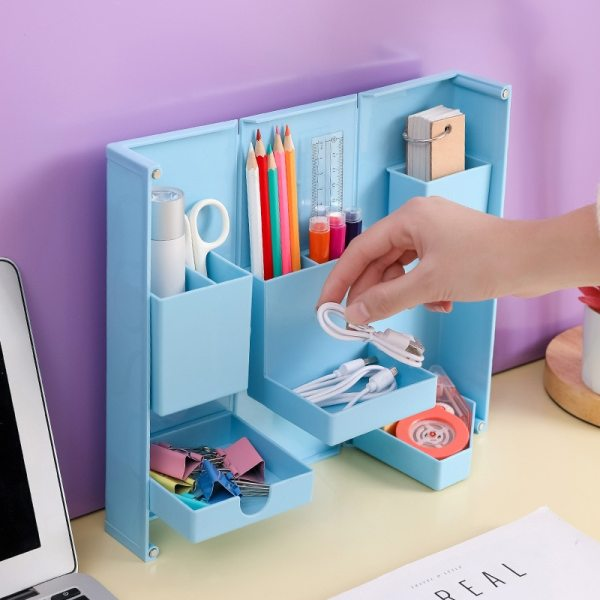 Folding Desk Organizer Storage Box Cosmetics Makeup Brush Holder Case Office Table Things Containers Boxes Bathroom