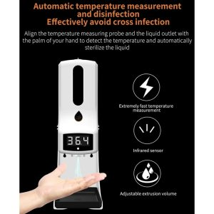 K9 Pro Wall mounted thermometer with Soap Dispenser with alarm suitable for use in offices home 3