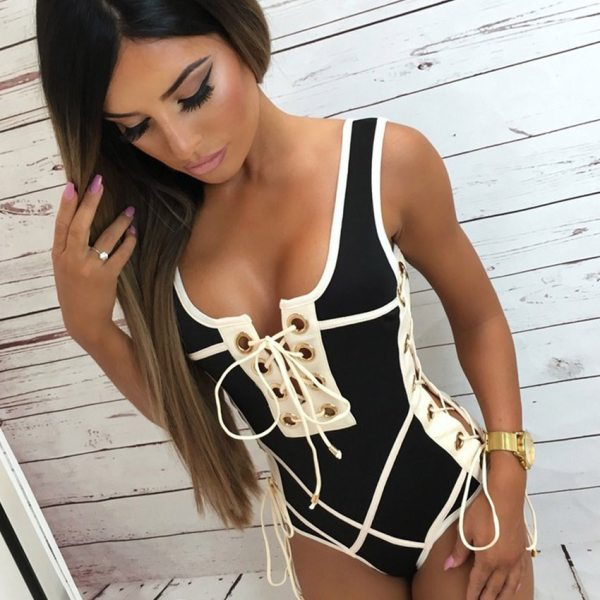 LI FI 2019 Sexy One Piece Swimsuit Women Swimwear Lace Up Bodysuit Bandage Beach Bathing Suit