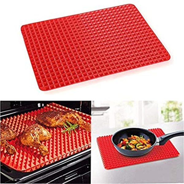 Large Red Pyramid Raised Cone Shaped Silicone Mat Baking and Roasting Superb Non Stick Food Grade