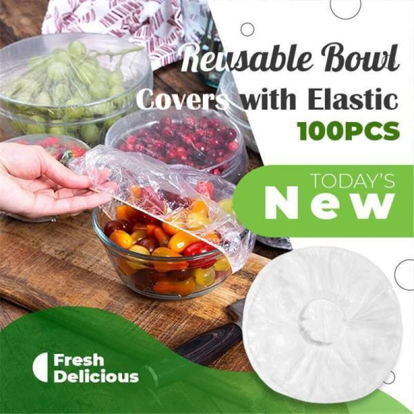 New Disposable Food Covers 100PCS Elastic Food Covers Lids For Fruit Bowls Cups Food Covers Wrap