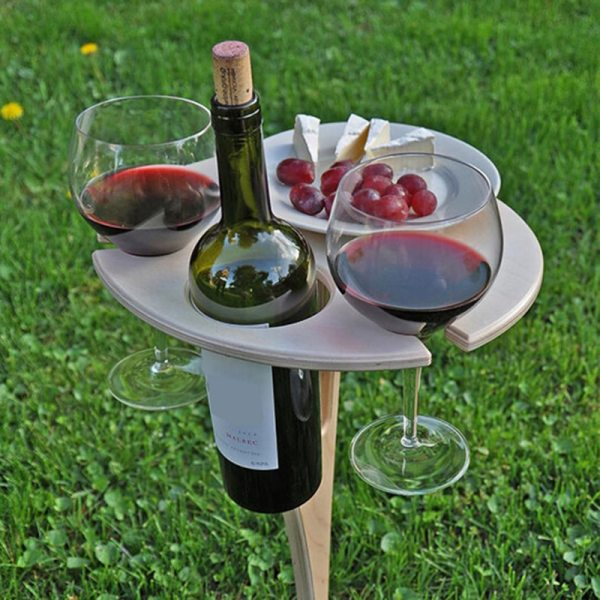Outdoor Portable Foldable Wine Table with Round Desktop Mini Wooden Easy To Carry Rack PicnicParty Travel