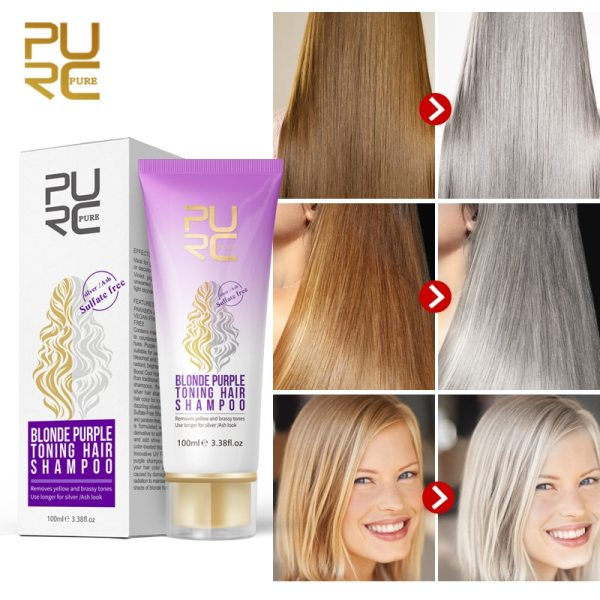 PURC Blonde Purple Hair Shampoo Removes yellow and brassy tones for silver Ash look Purple Hair