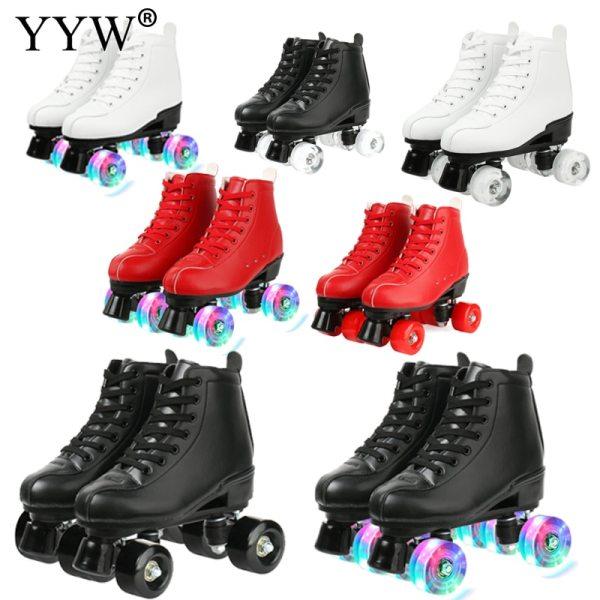 Size 34 Girls Europe Size Flashing Women PU Leather Adult Kids Quad Roller Skates Skating Sliding