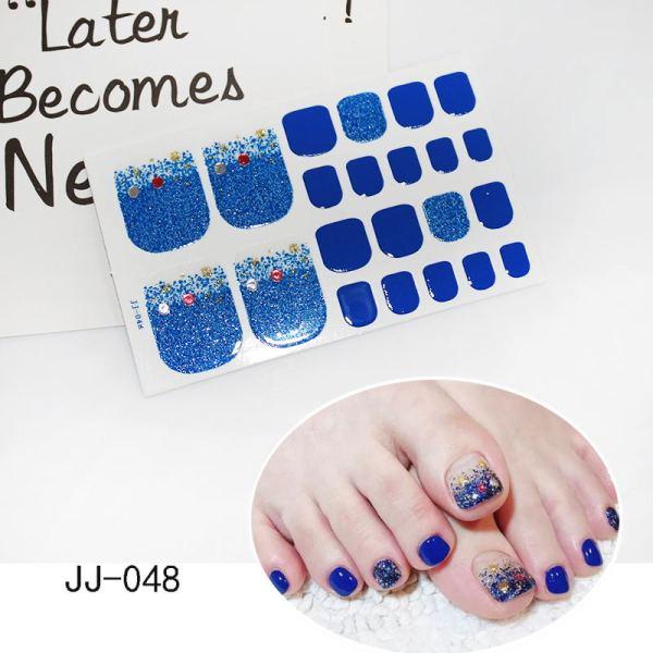 1Sheet Adhesive Toe Nail Sticker Glitter Summer Style Tips Full Cover Toe Nail Art Supplies Foot