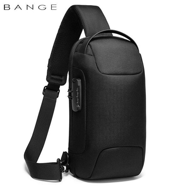 BANGE Hot Chest Bag New Anti thief Men Crossbody Bag Waterproof Shoulder Bags USB Charging Short