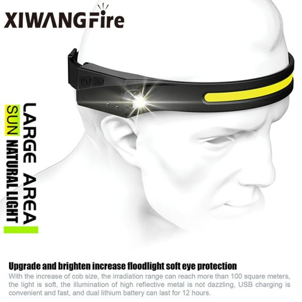 COB LED Headlamp Sensor Headlight with Built in Battery Flashlight USB Rechargeable Head Lamp Torch 5