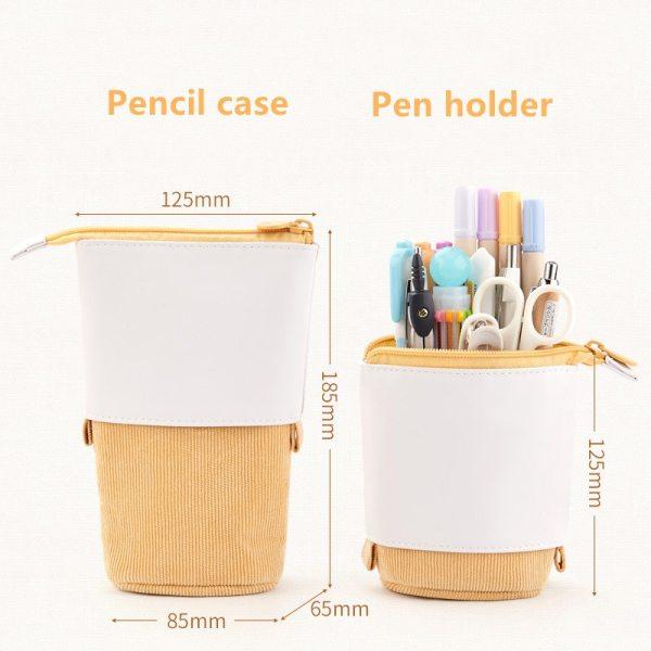 Creative Retractable pencil case school stationery Storage bag Kawaii Solid color Pen case cute pen holder 2