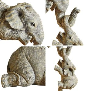 Elephant Resin Ornaments Three piece Decorations 3 Elephant Mothers and Two Babies Hanging on The Edge 3