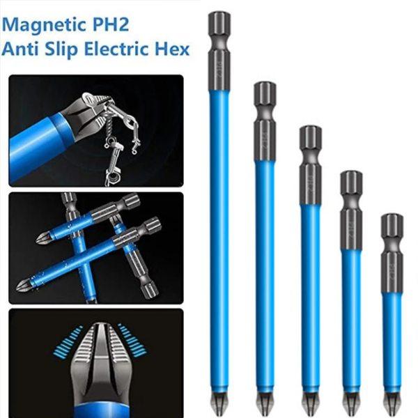 Magnetic Anti Slip Drill Bit 7Pcs Magnetic PH2 Phillips Bits Set Hand Tools Screwdriver Drill Bit