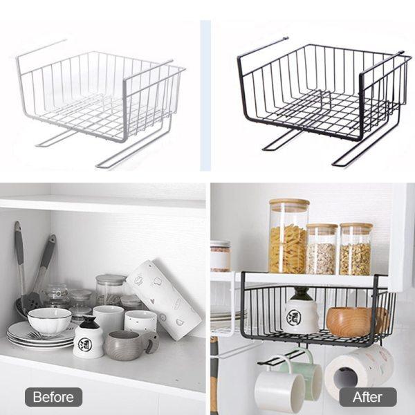 Metal Under Cabinet Hook Wardrobes Closet Kitchen Cupboard Basket Rack Shelf Bearing Partition Hanger For Home