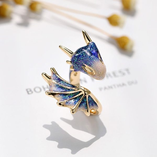 Original Design Starry Sky Small Blue Dragon Opening Ring Colorful Fresh And Unique Craftsmanship Charm Women