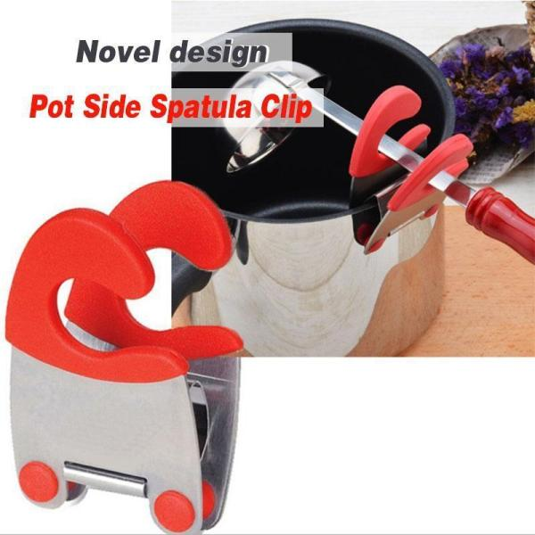 Pot Side Spatula Clip HOT Functional Stainless Steel Anti scalding Portable Spatula Spoon Holder Kitchen Gadgets