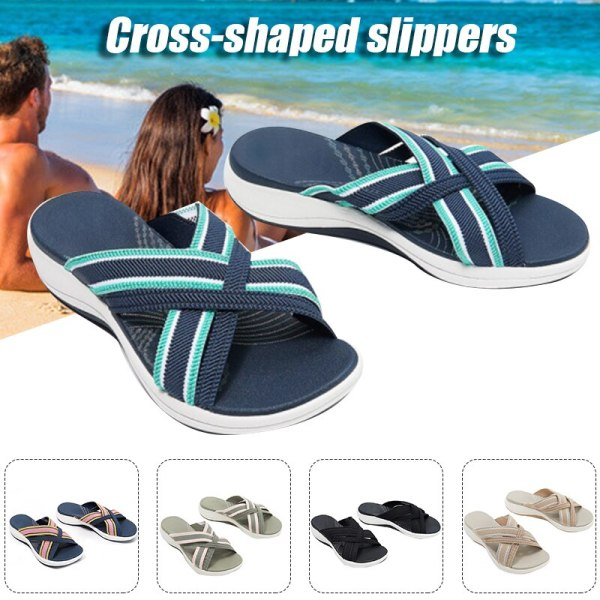 Sock Sandals For Women Stretch Cross Orthotic Slide Sandals Beach Slip On Comfort And Support Sandals