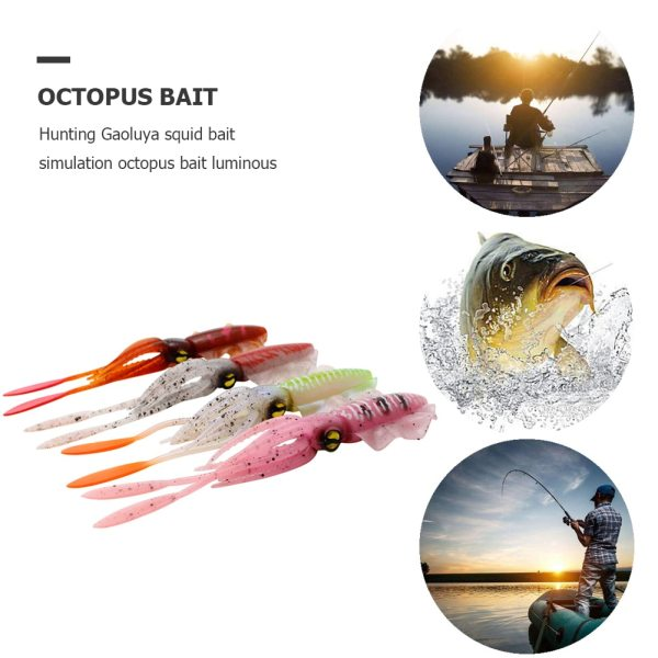 Soft Lures Silicone Bait 15cm Fishing Lure Octopus Squid 3D Eyes Luminous for Sea Artificial Bionics
