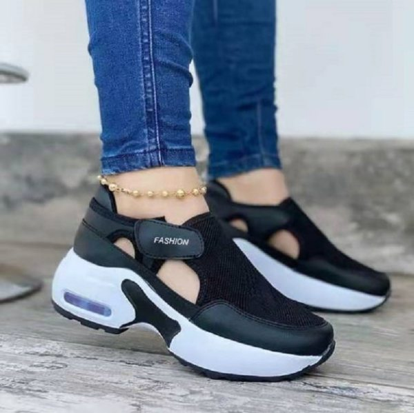 Vulcanize Shoes Women Sneakers Ladies Solid Color Wedge Thick Shoes Round Toe Lace Up Comfortable Platform