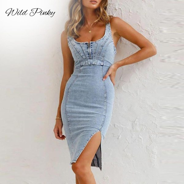 WildPinky 2021 Summer Denim Dress Women Elegant Spaghetti Strap Sexy O Neck Vintage Casual Female Split