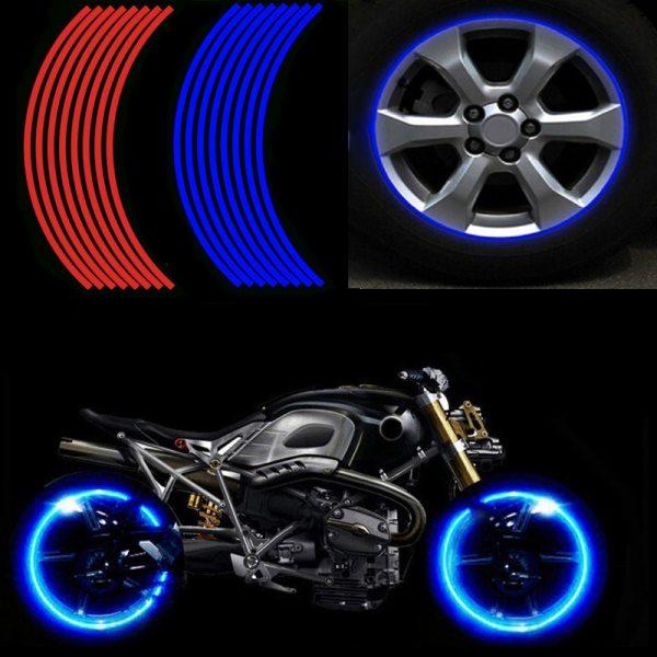 16 Pcs Strips Motorcycle Wheel Sticker Reflective Decals Rim Tape Bike Motobike Decal 17 18 For