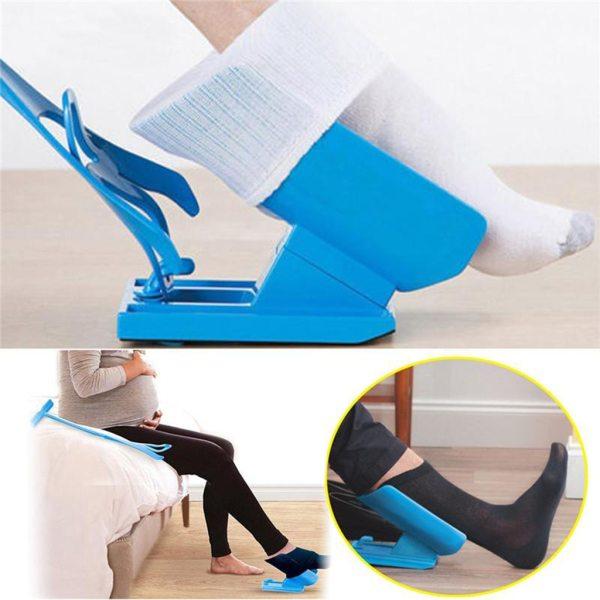 1pcs Sock Slider Aid Blue Helper Kit No Bending Shoe Horn Suitable For Socks Foot Brace