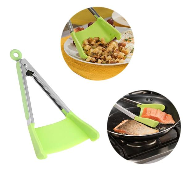 2 in 1 Tongs Non stick Heat Resistant Silicone Tong Clip Kitchen Spatula Clever Food Clips