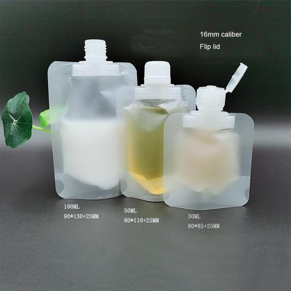 30 50 100ml Clamshell Packaging Bag Stand Up Spout Pouch Plastic Hand Sanitizer Lotion Shampoo Makeup