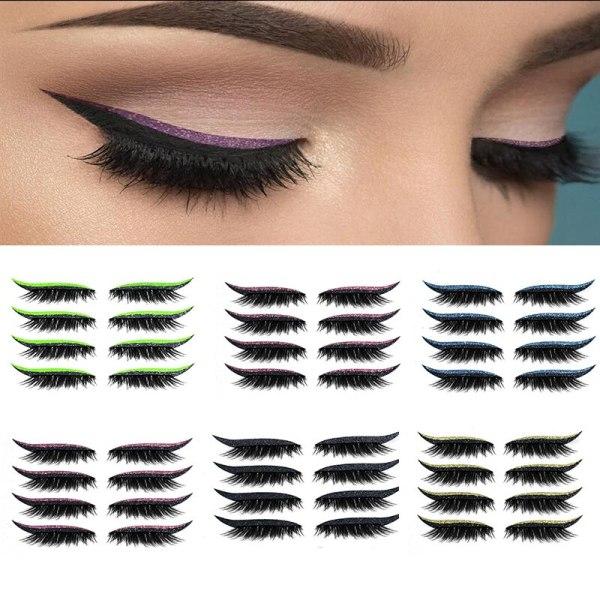 4 Pair Reusable False Lashes Eyeliner And Eyelash Stickers Handmade Waterproof Self adhesive Eyelash Stickers Easy