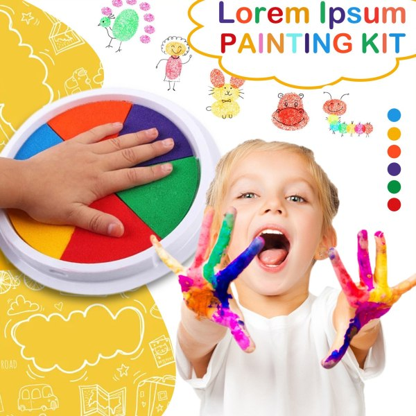 6 Colors Diy Ink Pad Stamp Finger Painting Craft Cardmaking Large Round For Kids Safety Broad