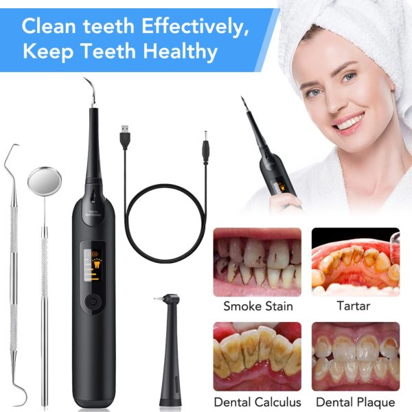 Electric Dental Plaque Remover With LED Light Tooth Scraper Tartar Removal Kit 5 Settings With Replacement