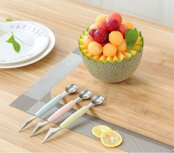 Fruit Carving Knife Watermelon Baller Ice Cream Dig Ball Tools Kitchen utensilios vegetable cutter vegetable slicer