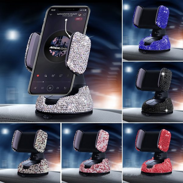 Luxury Rhinestone Bling Crystal Car Cell Phone Mount Girls Universal Holder for Dashboard Windshield and Air