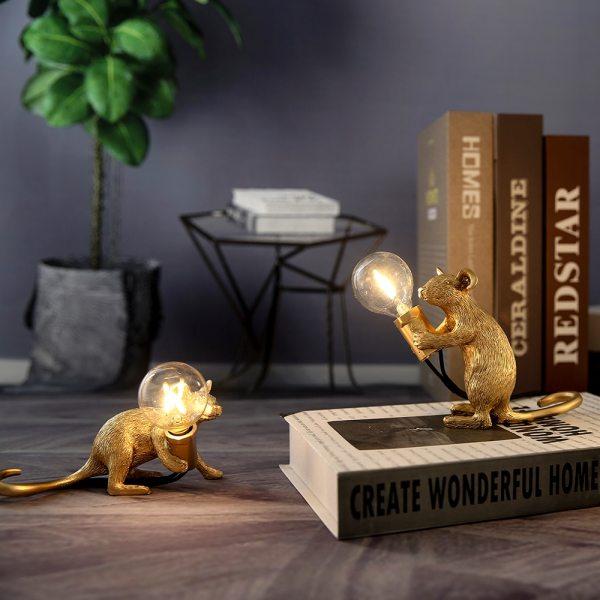 Modern Resin Mouse Night Lights LED E12 Mini Mouse Table Lamps Kids Room Home Decor Bedside
