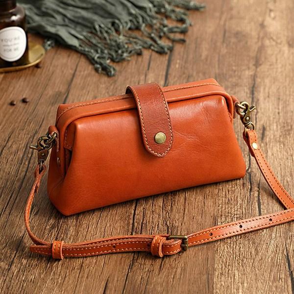 Retro Handmade Doctor Bag Luxury Fashion Crossbody PU Leather Bag Women Vintage Style Leather Crossbody Shoulder